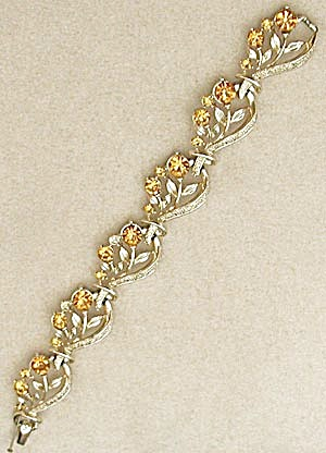 Vintage Yellow Orange Rhinestone Flower Bracelet (Image1)