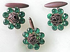 Vintage 3 Piece Ladies Cuff Link Set Green Stone Roses (Image1)