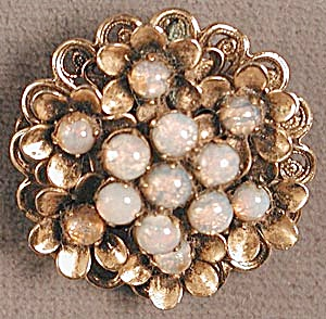 Vintage Pinky Faux Opal Flower Pin and Pendant (Image1)