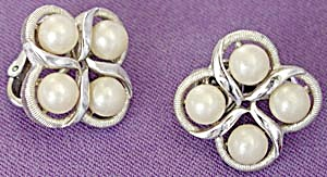 Trifari Faux Pearl Earrings (Image1)