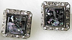 Vintage Coro Square Iridescent Earrings (Image1)