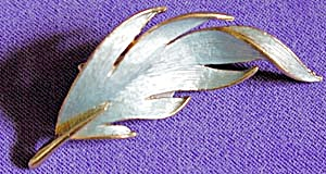 Signed J. J. Ice Blue Feather Pin