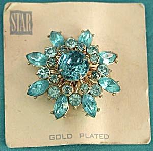 Vintage Handset Aqua Rhinestone Gold Plated Brooch (Image1)