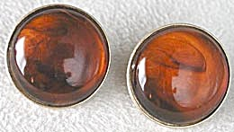 Trifari  Amber Colored Disk Clip on Earrings (Image1)