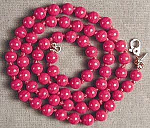 Vintage Monet Hand Knotted Red Glass Beaded Necklace (Image1)