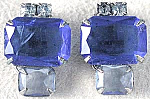 Vintage Large Dark & Light Blue Stone Clip Earrings (Image1)