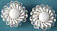 Vintage White Glass Clip Earrings  (Image1)