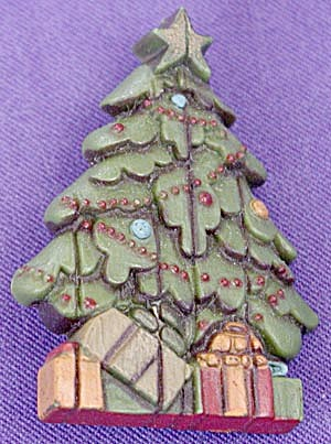 Vintage Christmas Tree Pin with Presents (Image1)