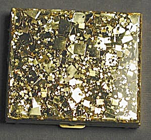 Vintage Gold Glitter Compact