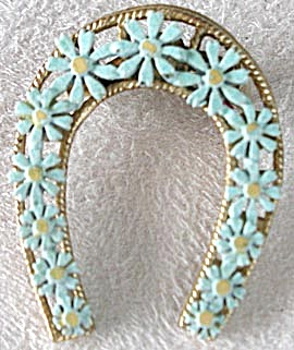 Vintage Horseshoe Pin with Forget-Me-Nots (Image1)