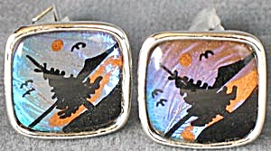 Vintage Morpho Butterfly Wing Pine Tree Cufflinks (Image1)