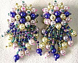 Vintage Clip Dangle Beaded Earrings (Image1)