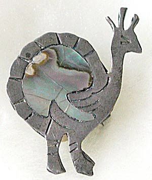 Vintage Sterling and Abalone Rhea Pin (Image1)