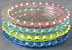 Vintage Jewel Tone Plastic Coasters Set of 4 (Image1)