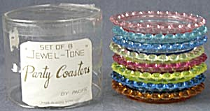 Vintage Jewel Tone Plastic Coasters Set of 8 (Image1)