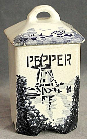 Vintage German Windmill Pepper Canister