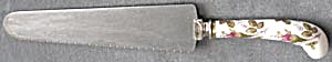 Vintage Rose Decorated Porcelain Handle Cake Knife (Image1)