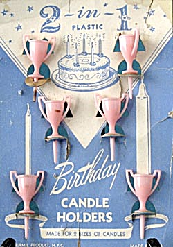 Vintage Trophy Birthday Cake Candle Holders