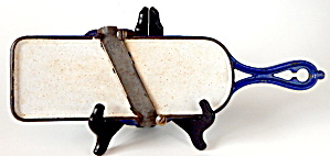 Antique Pilsen Navy & White Graniteware Slicer Rare