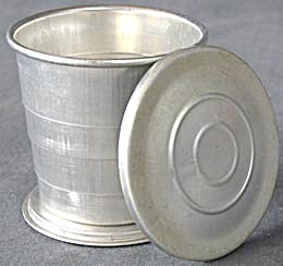 Vintage Collapsible Aluminum Travel  Cup w/Lid (Image1)