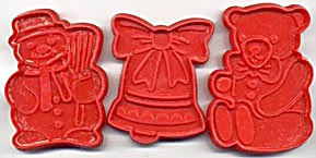 Vintage Red Christmas Cookie Cutters Set Of 3