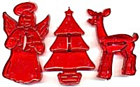 Vintage Red Holiday Cookie Cutters Set Of 3