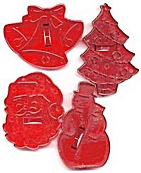 Vintage Hrm Plastic Christmas Cookie Cutters
