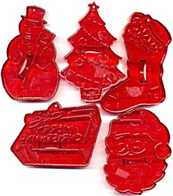 Vintage Hrm Plastic Christmas Cookie Cutters Set Of 5
