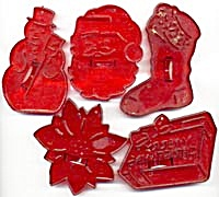 Vintage Hrm Red Plastic Christmas Cookie Cutters Set 5