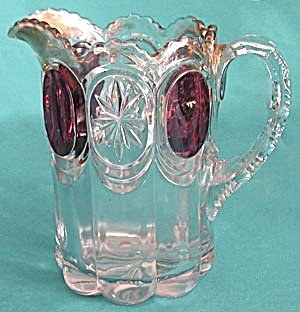 Antique Large Red Flash Pattern Glass Pitcher (Image1)