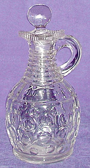 Pressed Glass Cruet Dimpled Bottom (Image1)