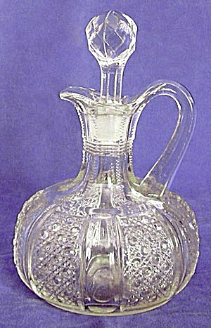 Vintage Pressed Glass Cruet in Cane Pattern (Image1)