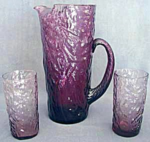 Vintage Purple Crinkle Glass Pitcher & 2 Tumblers