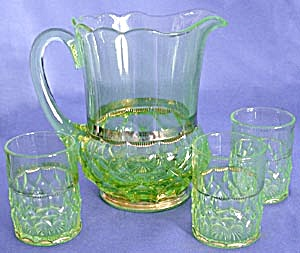 Antique Vaseline Glass Pitcher & 3 Glasses (Image1)