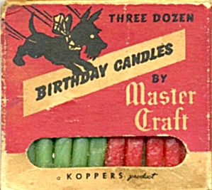 Vintage Birthday Cake Candles With A Scottie