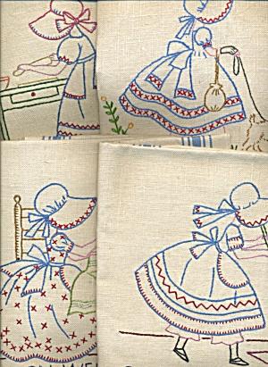 Vintage Linen Sunbonnet Sue 7 Days of the Week Towels (Image1)