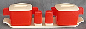 Vintage Red Plastic Creamer & Sugar 5 Piece Set (Image1)
