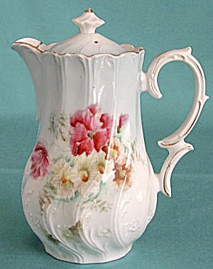 Antique Hand Painted Flower Teapot (Image1)