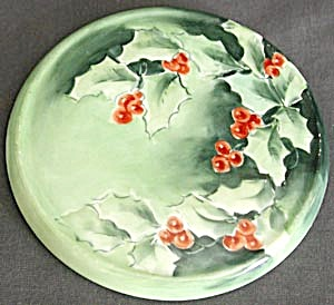 Vintage Signed Hand Painted Holly Trivet (Image1)
