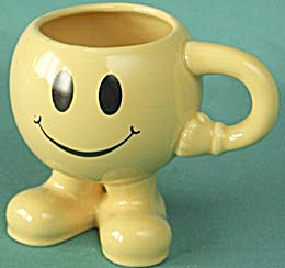 Vintage Smiley Mug With Legs And Arm Handle
