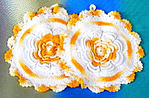 Vintage Crocheted Flower Pot Holders Set Of 2
