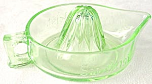 Vintage Sunkist Green Glass Juicer or Reamer (Image1)