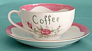 Lefton Pink Flower Mother Large Coffee Cup with Saucer (Image1)