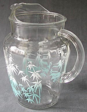 Vintage Glass Pitcher Bamboo Design