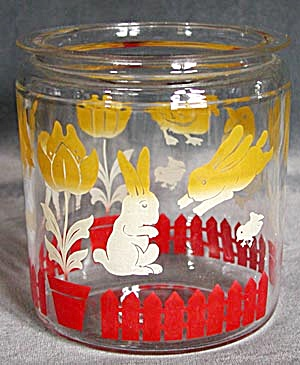 Vintage Anchor Hocking Glass Canister Lambs, Ducks (Image1)