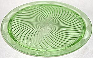 Vintage Depression Glass Cake Plate Green Footed (Image1)
