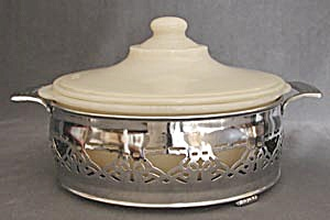 Vintage Fire King Ivory Casserole With Holder