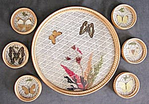 Vintage Butterfly Coaster Set And Tray