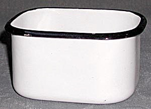 Vintage White Enamel with Navy Edge Container (Image1)