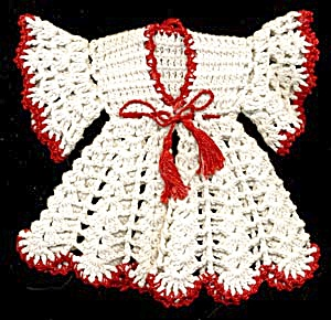 Vintage Red & White Robe & Pajama Hot Pad/ Pot Holders (Image1)